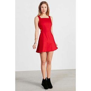Ecote Red Cutout Fit + Flare Linen Dress